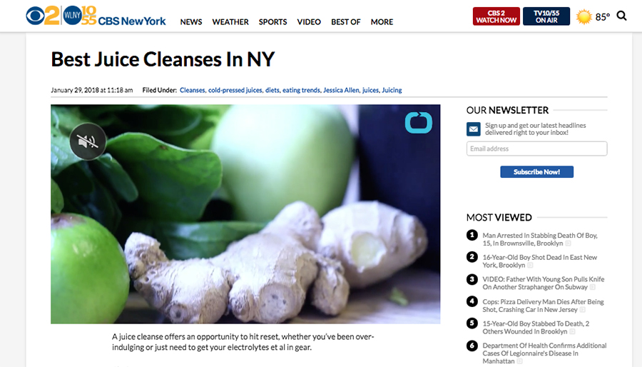 CBS News New York: Best Juice Cleanses in NY