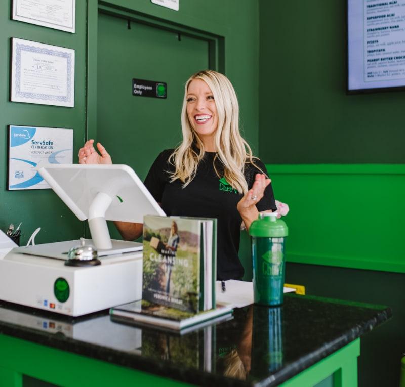 Chef V at the cash register