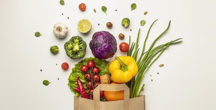 shopping bag of veggies