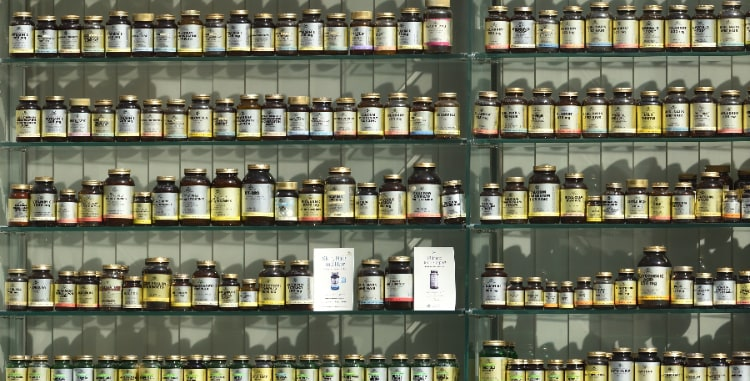 wall of supplements bottles